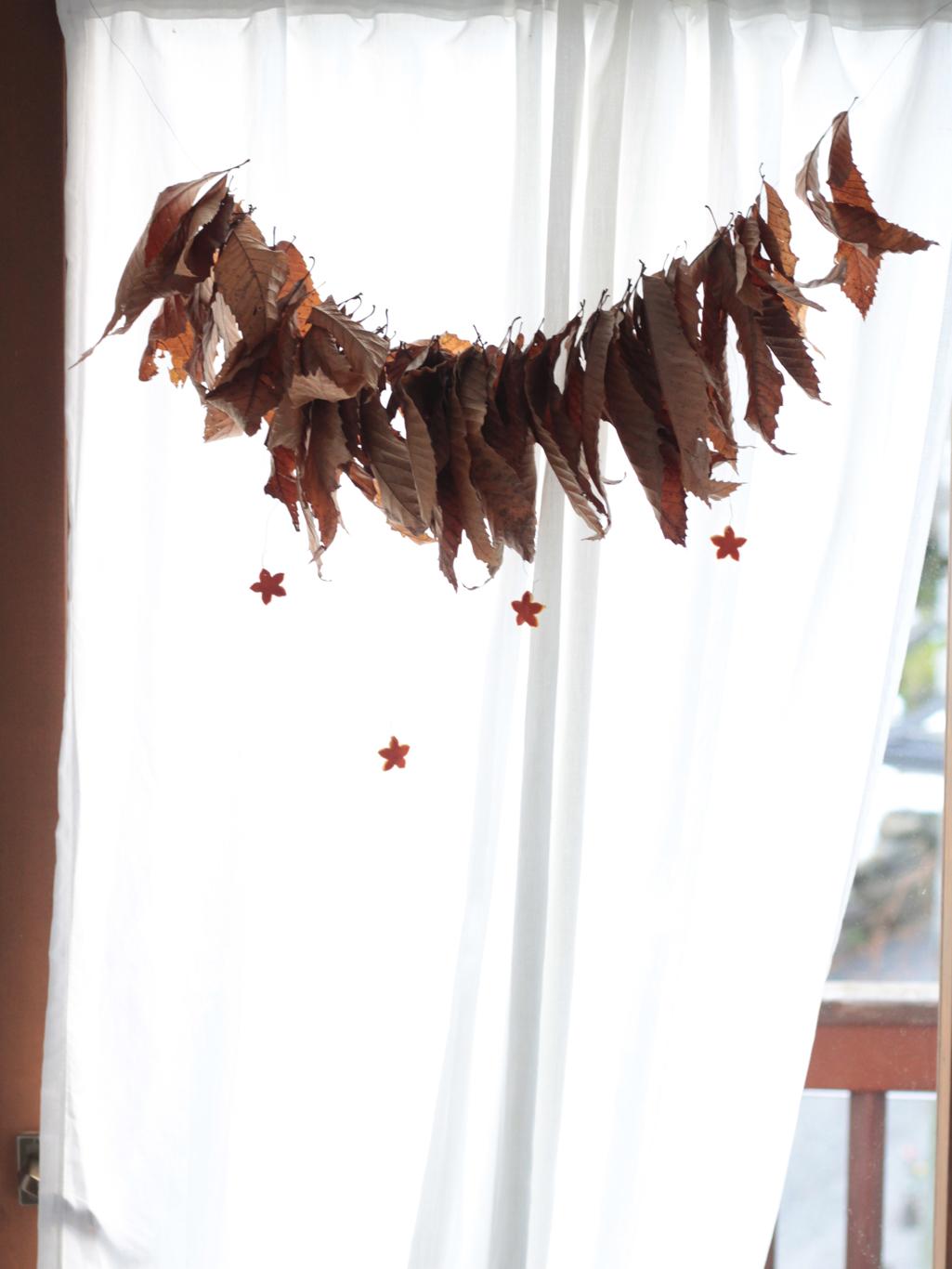 ghirlanda di castagno e bucce d'arancio finestra